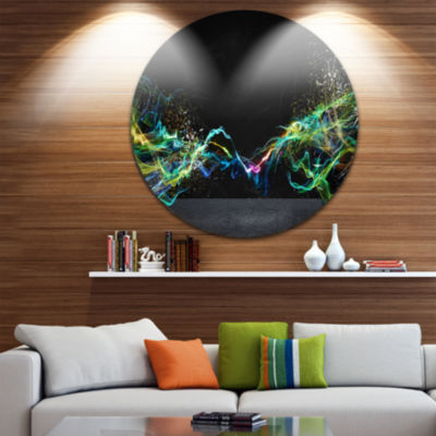 Design Art Abstract Motion Banner Disc Contemporary Circle Metal Wall Art