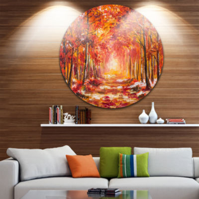 Design Art Autumn Forest in Red Shade Landscape Circle Metal Wall Art