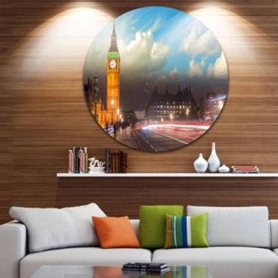 Design Art Big Ben UK from Westminster Bridge Large Cityscape Photo Circle Metal Wall Art