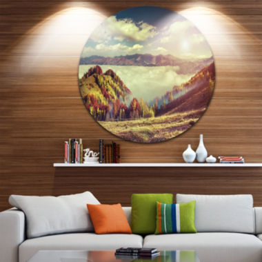 Design Art Autumn Panorama of Mountains Disc Photography Circle Metal Wall Art