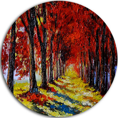 Design Art Autumn Forest with Red Leaves LandscapeCircle Metal Wall Art