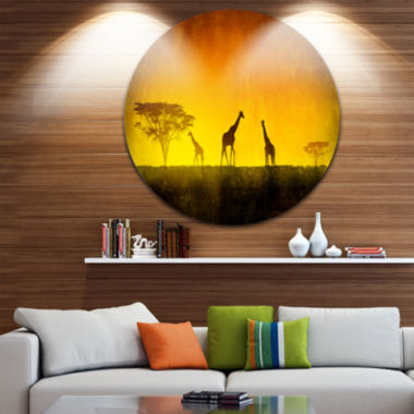 Design Art African Sunset Aura Disc Landscape Circle Metal Wall Art