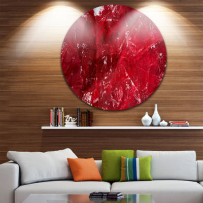 Design Art Abstract Red Texture Disc Abstract Circle Metal Wall Art