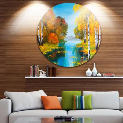 Design Art Birch Forest near the River Landscape Circle Metal Wall Art