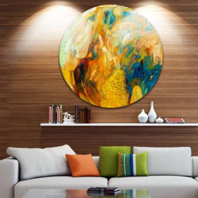 Design Art Abstract Yellow Collage Large AbstractMetal Circle Wall Art