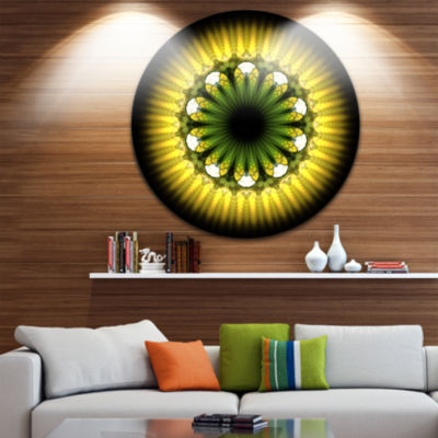 Design Art Black Yellow Fractal Flower Pattern Abstract Round Circle Metal Wall Decor