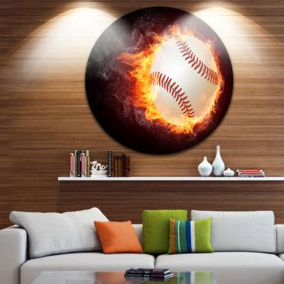 Design Art Baseball Ball Disc Sport Circle Metal Wall Art