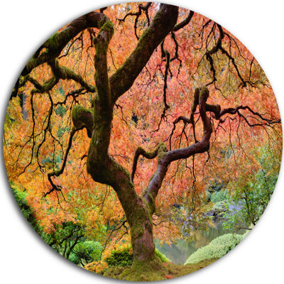 Design Art Autumn Maple Tree Disc Landscape Photography Circle Metal Wall Art