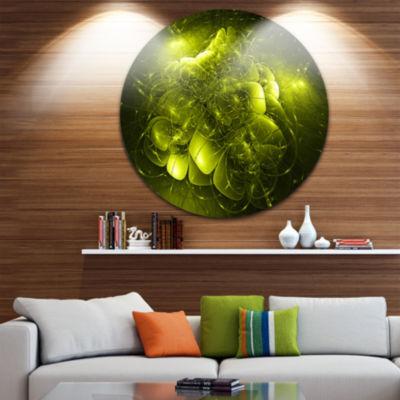 Design Art Alien Mystical Flower Yellow Floral Circle Metal Wall Art