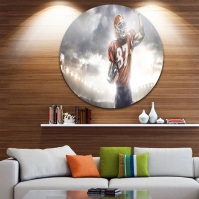 Design Art American Footballer on Stadium Disc Sport Circle Metal Wall Art