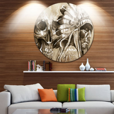 Design Art American Indian Warrior Tattoo Sketch Portrait Circle Metal Wall Art