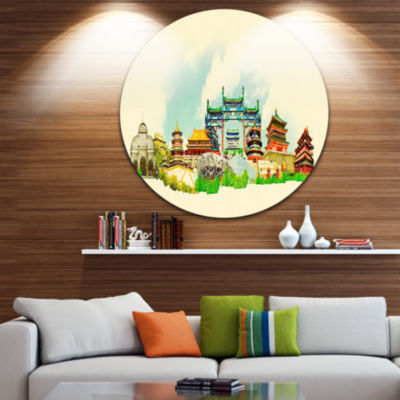 Design Art Beijing Panoramic View Disc Cityscape Watercolor Circle Metal Wall Art