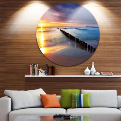 Design Art Baltic Sea Poland Beach Photography Circle Metal Wall Art