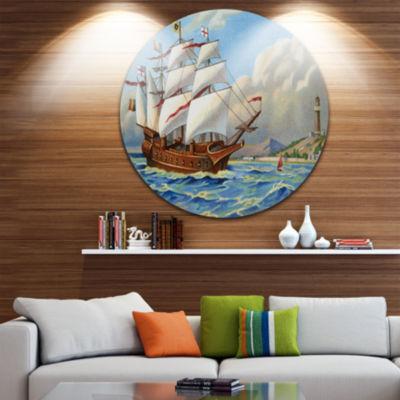 Design Art Ancient Boat Drifting in Sea Disc Seascape Circle Metal Wall Art