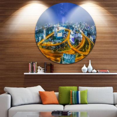 Design Art Bangkok City Cityscape Photography Circle Metal Wall Art