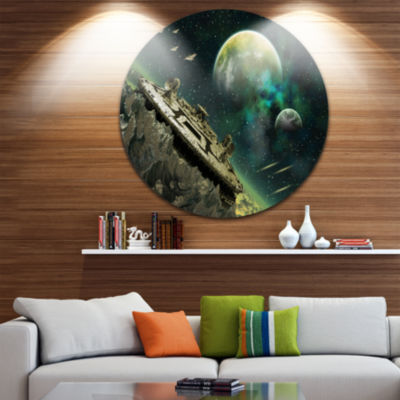 Design Art Alien Planet Disc Abstract Circle MetalWall Art