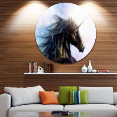Design Art Black Unicorn Disc Animal Circle MetalWall Art