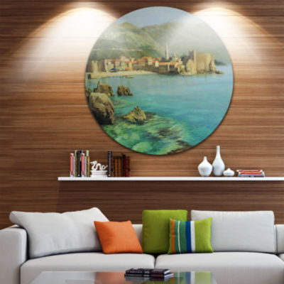 Design Art Bay Near Old Budva Disc Landscape Painting Circle Metal Wall Art