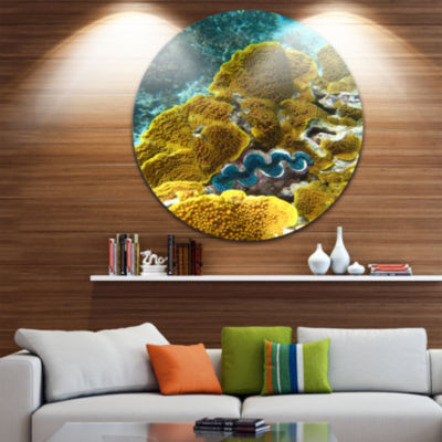 Design Art Barrier Reef Underwater Scene SeascapeCircle Metal Wall Art