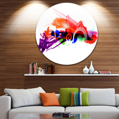 Design Art Abstract Splashes of Colors Disc LargeContemporary Circle Metal Wall Art