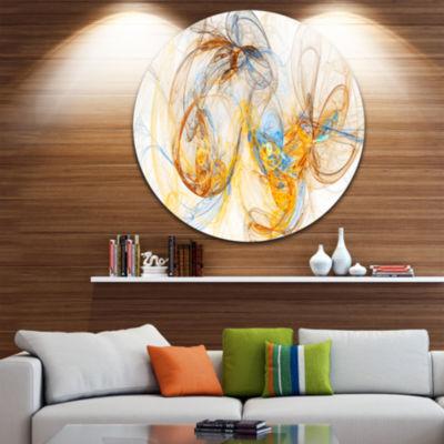Design Art Billowing Smoke Yellow Abstract CircleMetal Wall Art