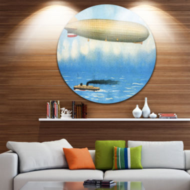 Design Art Airship Illustration Disc Large Contemporary Circle Metal Wall Arts