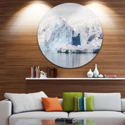 Design Art Antarctica Mountains Disc Landscape Photo Circle Metal Wall Art
