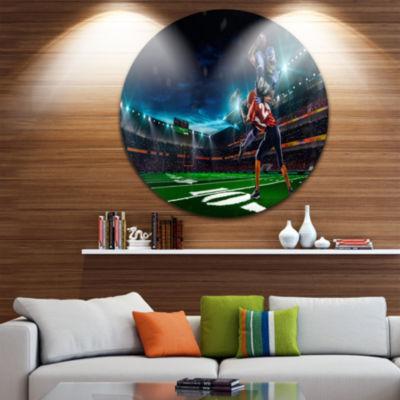 Design Art American Football Player Disc Sport Circle Metal Wall Art