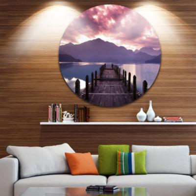 Design Art Beautiful Spring Sea at Morning Disc Photography Circle Metal Wall Art