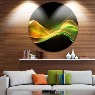 Design Art 3D Gold Green Wave Design Abstract Circle Metal Wall Art