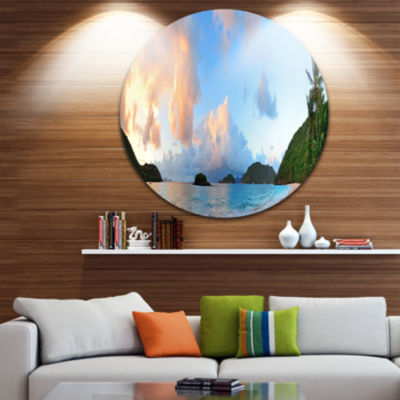 Design Art Beach Sunset with Clouds Disc LandscapePhotography Circle Metal Wall Art