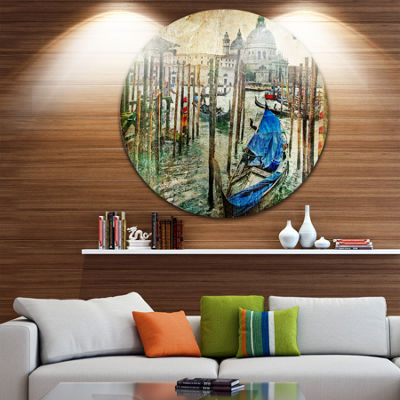 Design Art Beautiful Venice Landscape Circle MetalWall Art