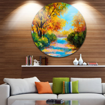 Design Art Autumn Forest with Colorful River Landscape Circle Metal Wall Art
