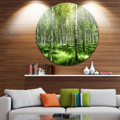Design Art Beautiful Birch Grove Landscape CircleMetal Wall Art