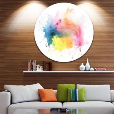 Design Art Abstract Blots Aquarelle Art Abstract Metal Circle Wall Art
