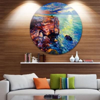 Design Art Beautiful Ocean and Cliffs Seascape Circle Metal Wall Art