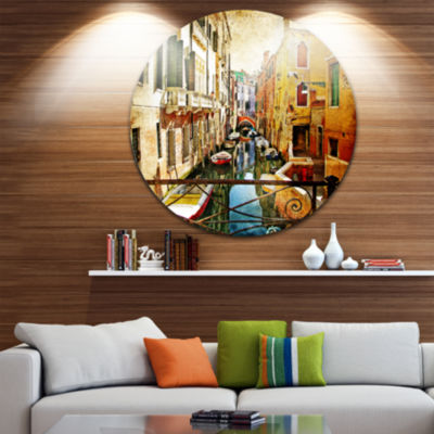 Design Art Amazing Venice Disc Cityscape Circle Metal Wall Art
