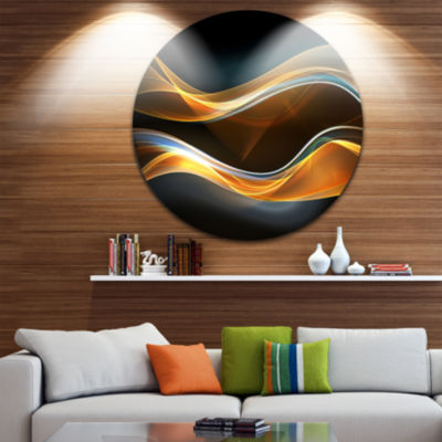 Design Art 3D Gold Waves in Black Abstract CircleMetal Wall Art