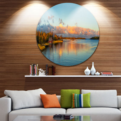 Design Art Autumn Sunset Panorama Landscape Photography Circle Metal Wall Art