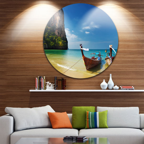 Design Art Andaman Sea Tropical Beach Disc Photography Circle Metal Wall Art