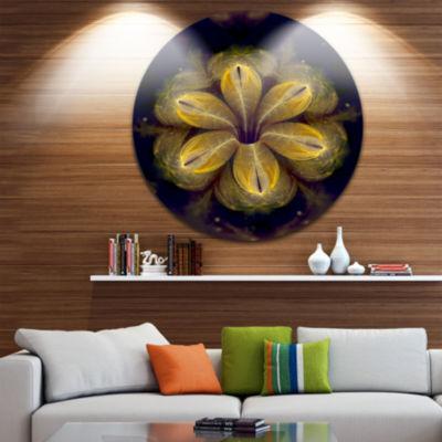 Design Art Black Yellow Fractal Flower Pattern Contemporary Round Circle Metal Wall Decor