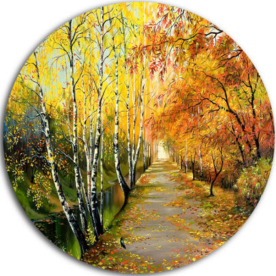 Design Art Beautiful Fall Forest Landscape CircleMetal Wall Art