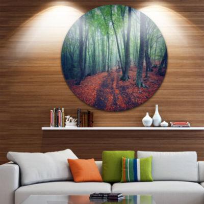 Design Art Beautiful Green Autumn Forest LandscapePhotography Circle Metal Wall Art