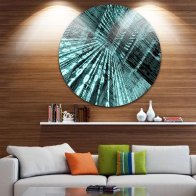 Design Art Binary Code Disc Contemporary Circle Metal Wall Art
