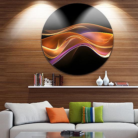 Design Art 3D Gold Pink Wave Abstract Circle Metal Wall
