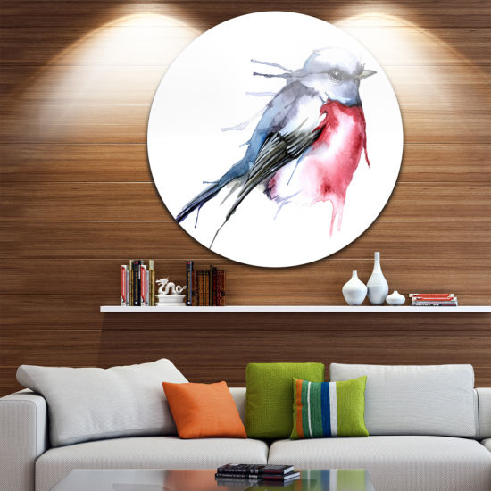Design Art Bird in Blue and Red Disc Watercolor Animal Circle Metal Wall Art