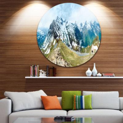 Design Art Alps Summer Panorama Disc Photography Circle Metal Wall Art