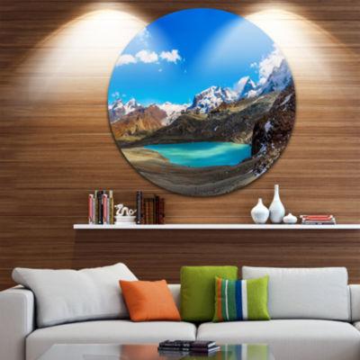 Design Art Alps Mountain Fountain Disc PhotographyCircle Metal Wall Art