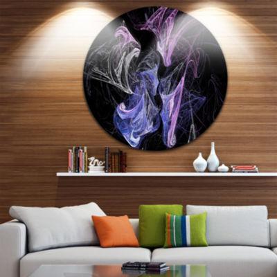 Design Art Billowing Smoke Blue Purple Abstract Circle Metal Wall Art