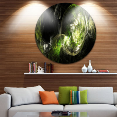 Design Art Billowing Smoke Green Abstract Circle Metal Wall Art